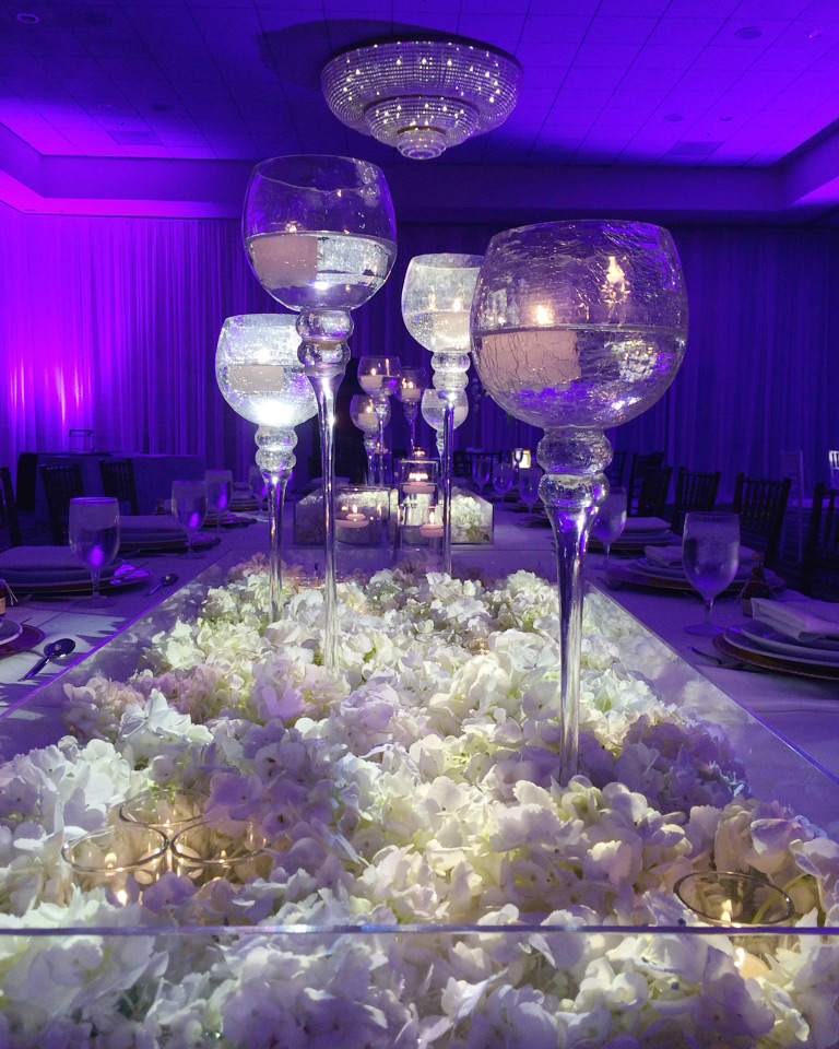 Lifetime Weddings & Events -  floating arragement crinkled vase